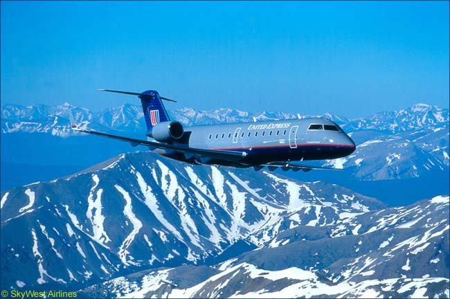 A Bombardier CRJ200 50-seat regional jet of SkyWest Airlines. SkyWest operates this aircraft on behalf of United Airlines, on United Express service