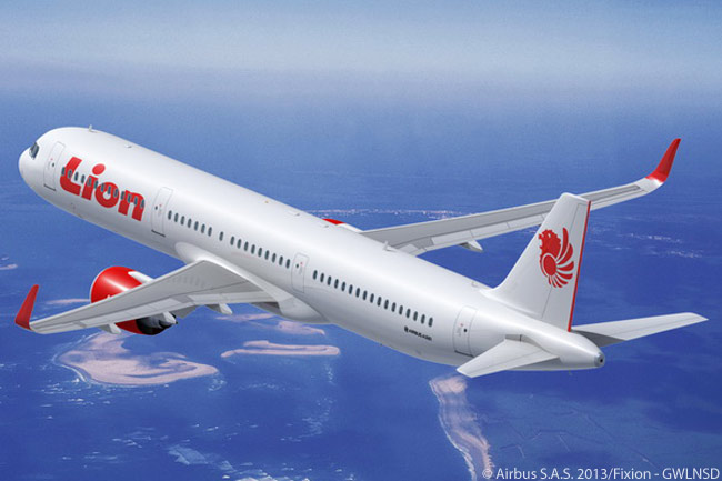 This is how the A321neo will look in Lion Air colors. The Indonesian low-cost airline plans to operate them in single-class configuration, each aircraft seating up to 236 passengers