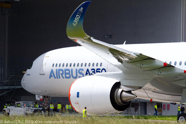 This photograph clearly shows the dramatic up-curl of the Airbus A350-XWB's combing raked-wingtip-and-winglet, a design new to Airbus